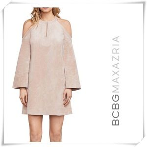 NWT BCBG Laguna Faux-Suede Casual Dress Bare Pink